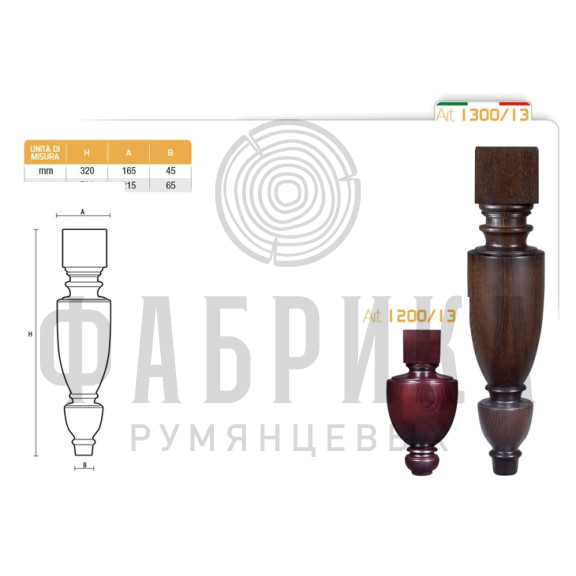 Мебельная ножка для стола артикул 1300/13